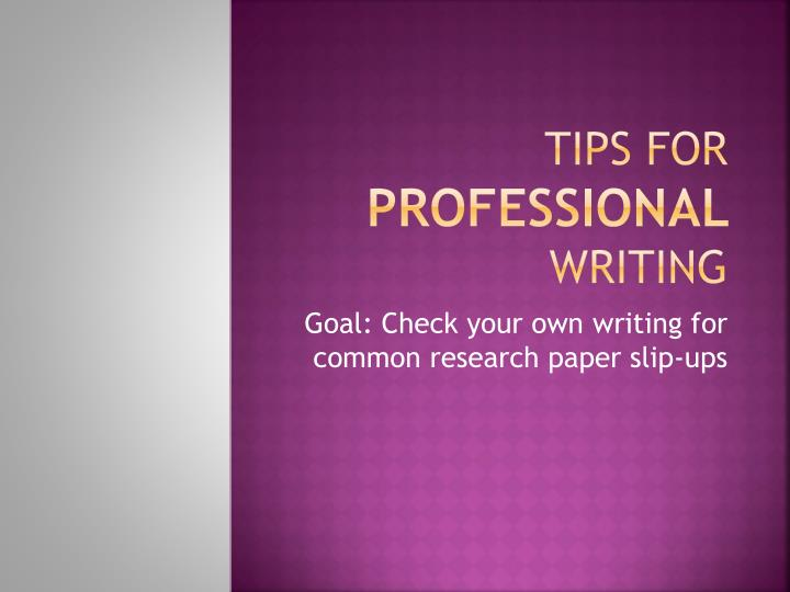 tips for professional writing n.