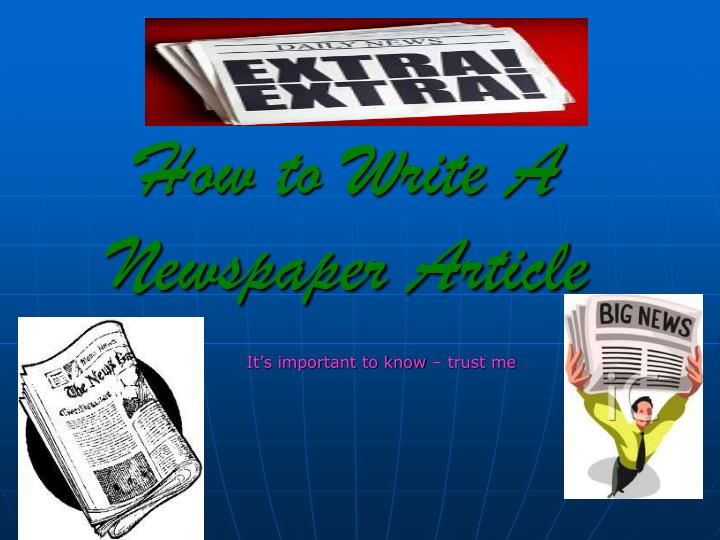 how to write a newspaper article n.