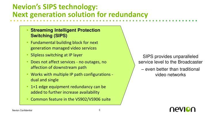 Nevion's SIPS technology: