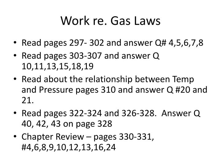 Work re. Gas Laws