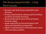 the russo japanese war long term causes