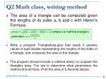 q2 math class writing method