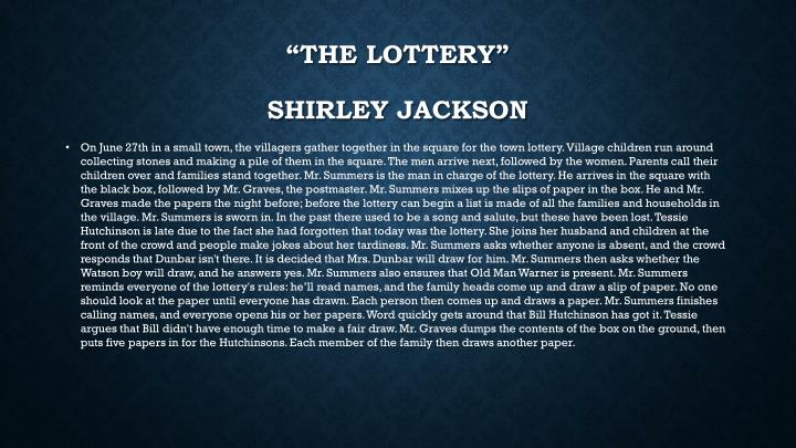 """""""The Lottery"""""""