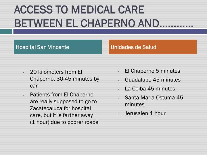 ACCESS TO MEDICAL CARE BETWEEN EL CHAPERNO AND…………