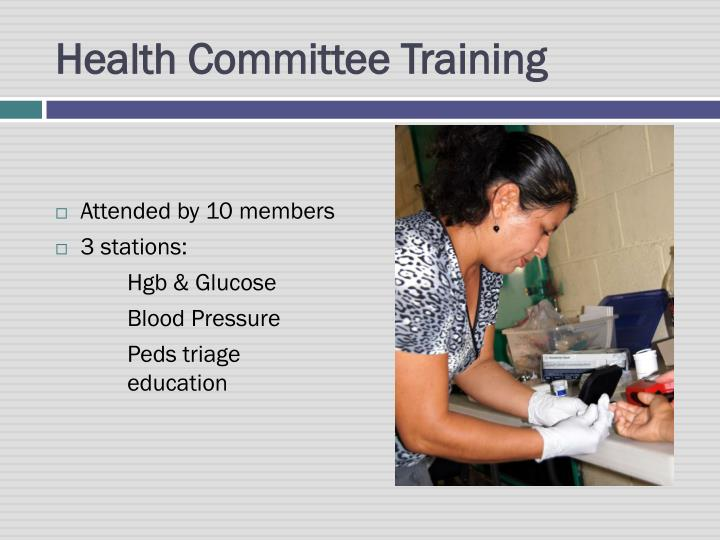 Health Committee Training