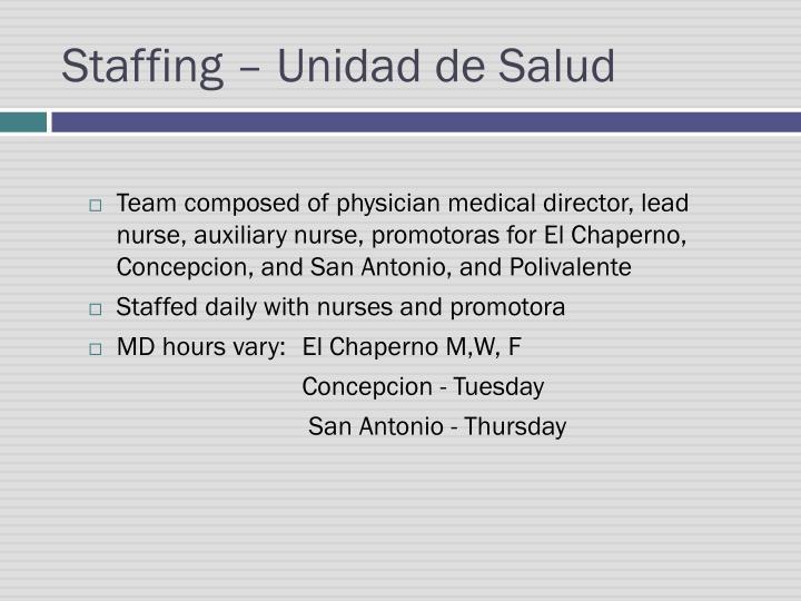 Staffing –