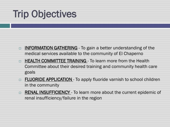 Trip objectives