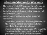 absolute monarchy weakens