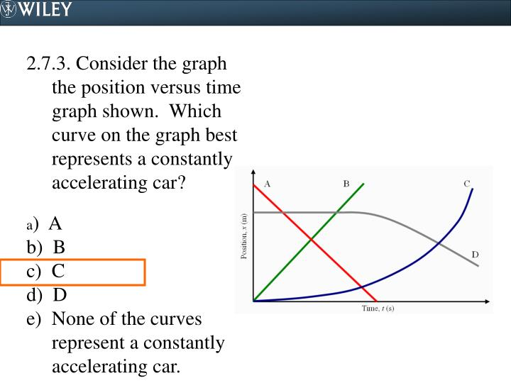 2.7.3. Consider the graph the position versus time graph shown.  Which curve on the graph best represents a constantly accelerating car?