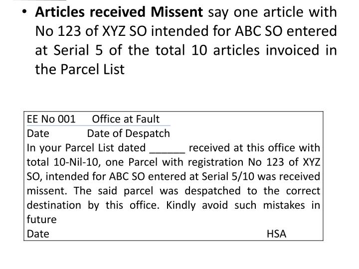 Articles received Missent