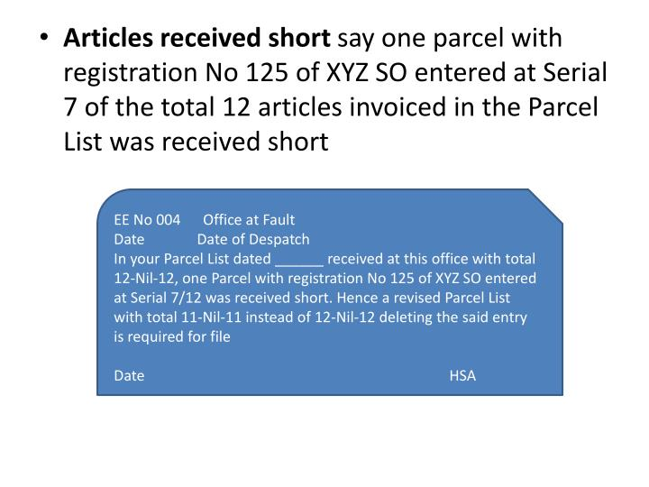 Articles received short