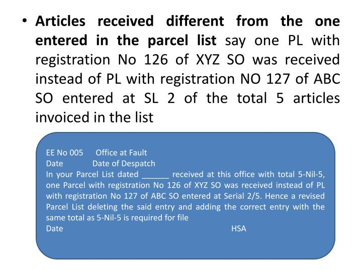 Articles received different from the one entered in the parcel list