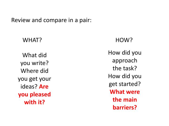 Review and compare in a pair: