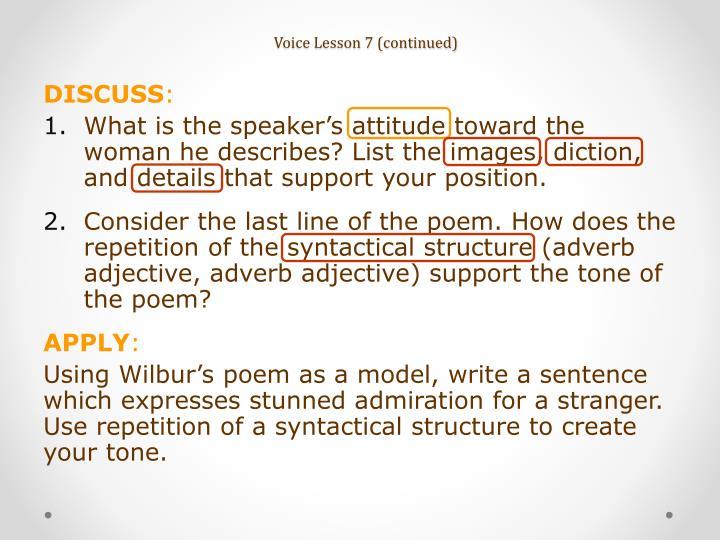 Voice Lesson 7 (continued)