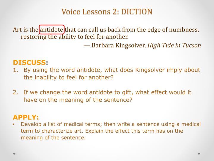Voice Lessons 2: DICTION