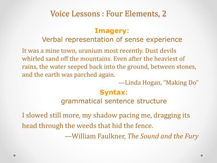 Voice lessons four elements 2