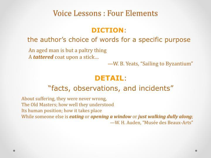 Voice lessons four elements