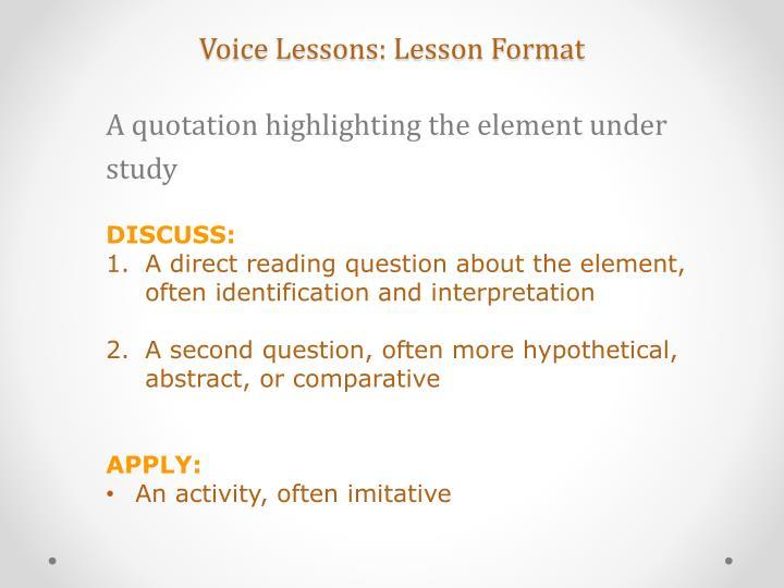 Voice Lessons: Lesson Format