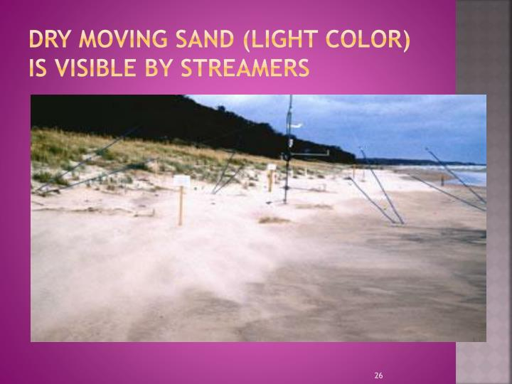 Dry moving sand (light color) is visible by streamers