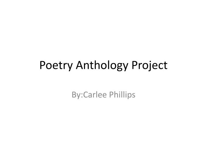 poetry anthology project n.