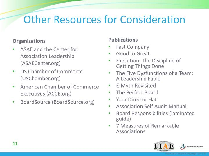 Other Resources for Consideration