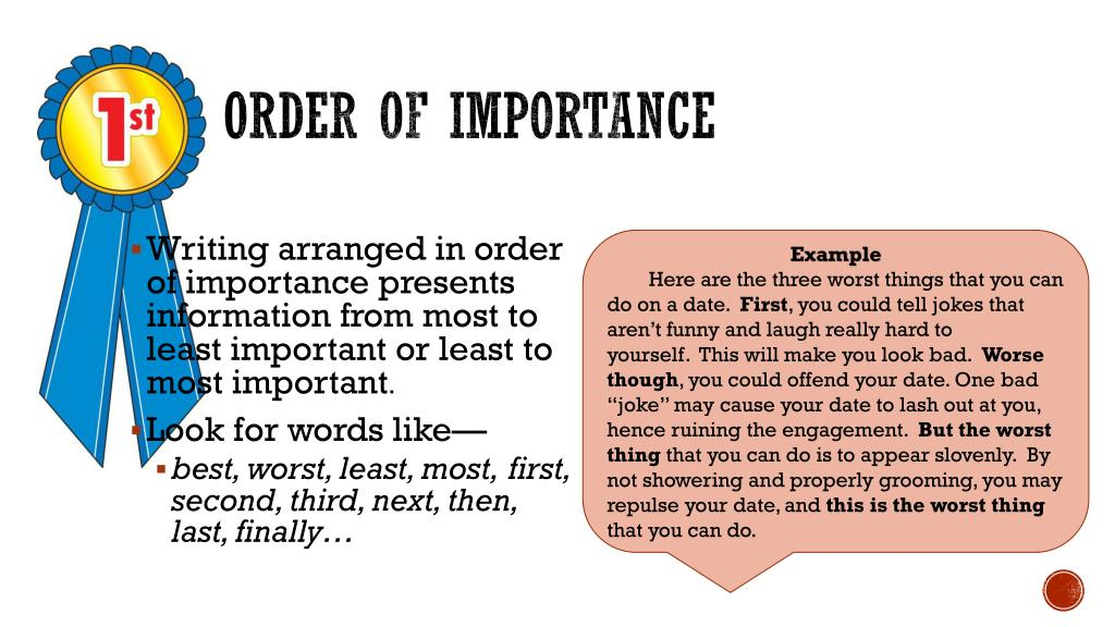 Order of importance in essay writing