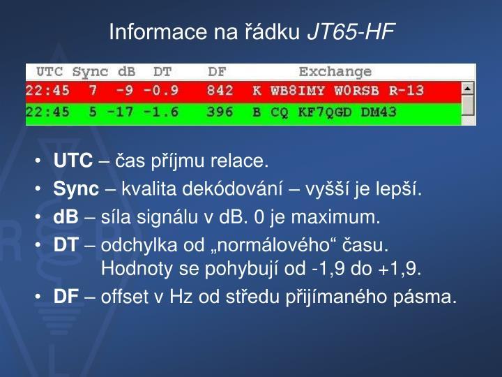 Informace na řádku