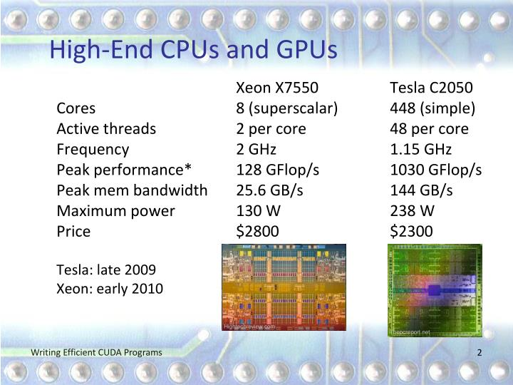 High end cpus and gpus