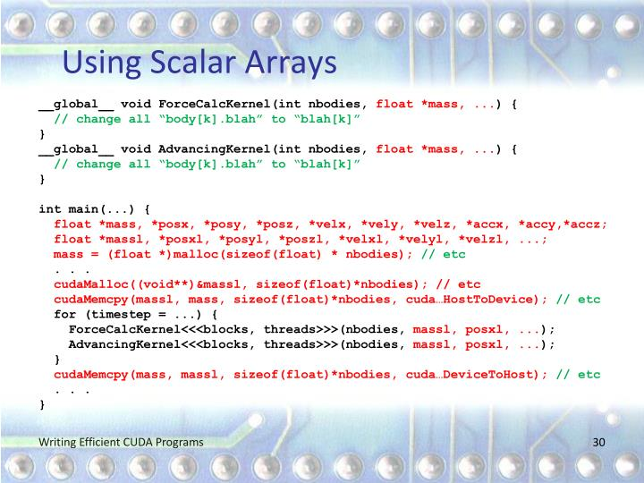 Using Scalar Arrays