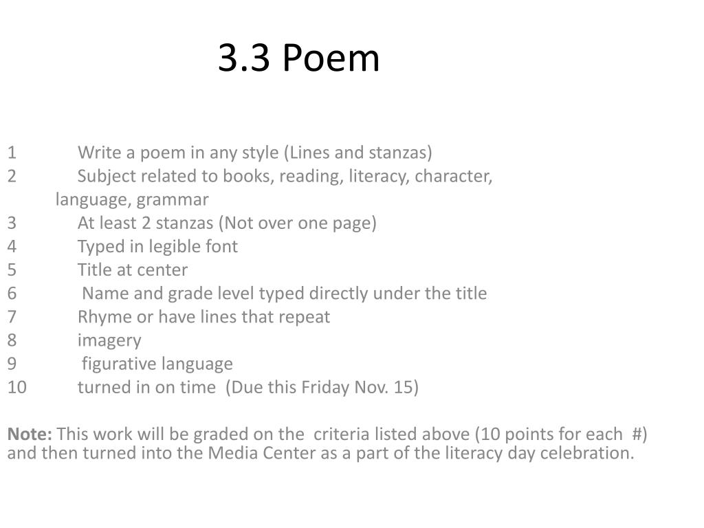Ppt 3 3 Poem Powerpoint Presentation Free Download Id 1962917 The rhyme scheme is ababbcbcc. ppt 3 3 poem powerpoint presentation