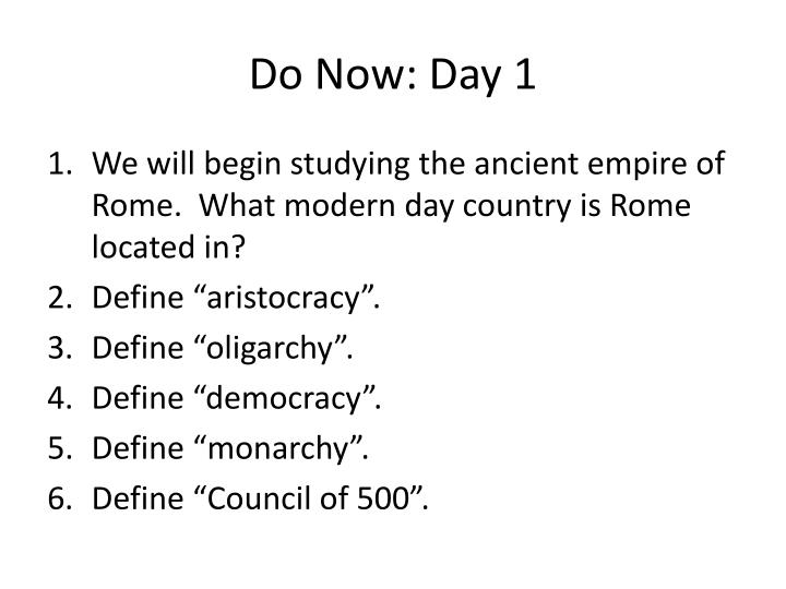 do now day 1