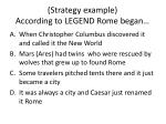 strategy example according to legend rome began