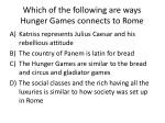 which of the following are ways hunger games connects to rome