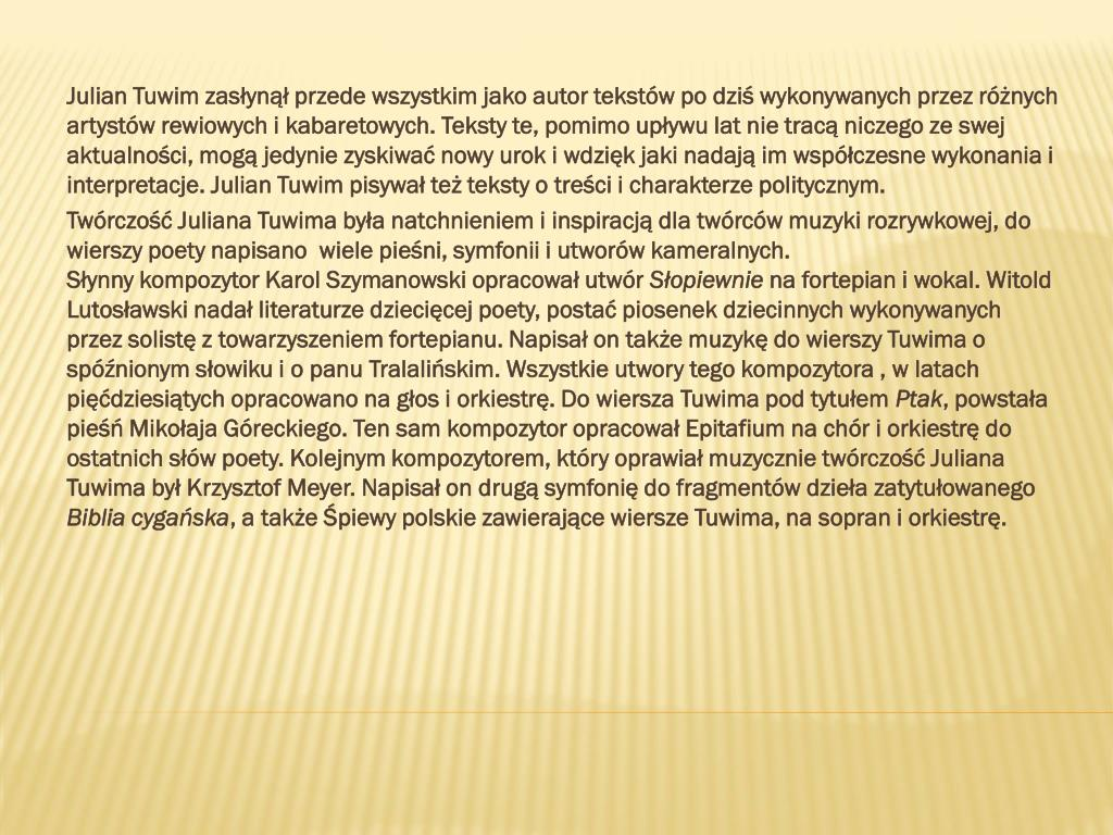 Ppt Julian Tuwim Powerpoint Presentation Free Download