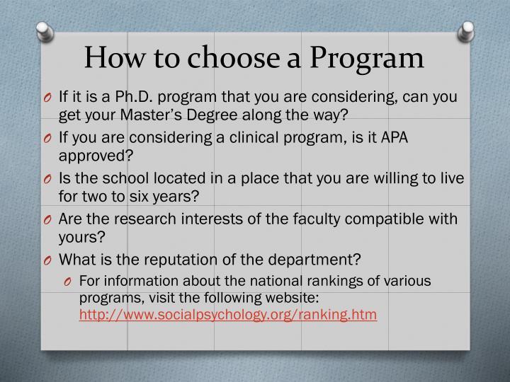 How to choose a Program
