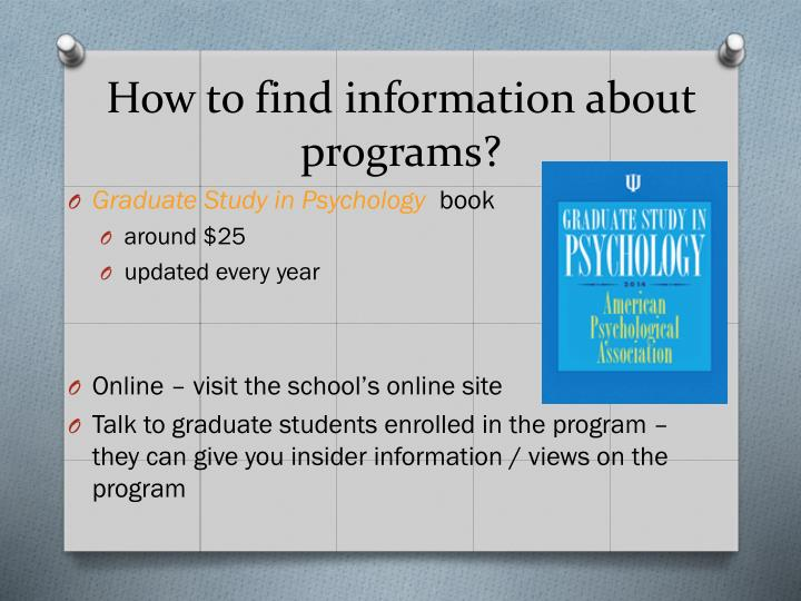 How to find information about programs?
