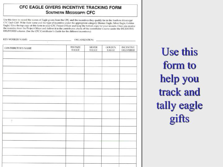 Use this form to help you track and tally eagle gifts
