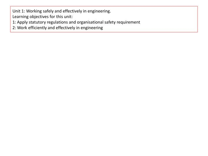 Unit 1: Working safely and effectively in engineering.
