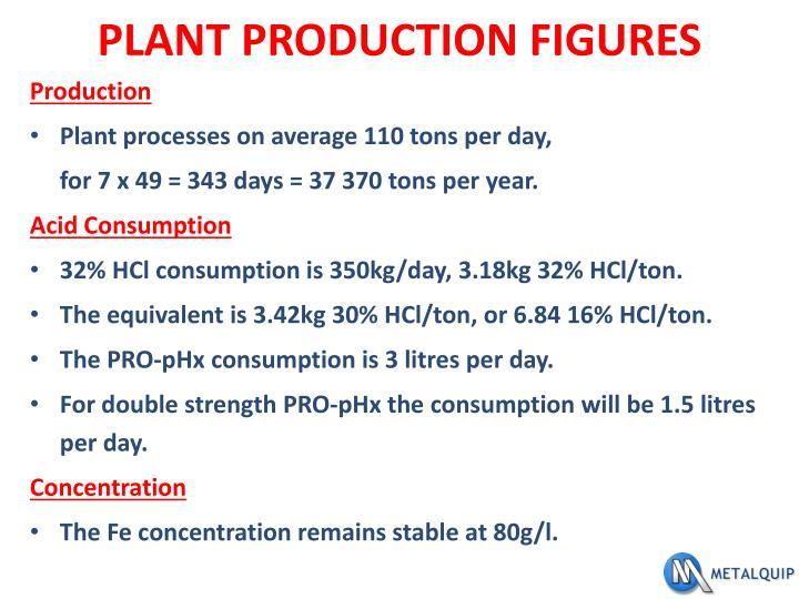 PLANT PRODUCTION FIGURES