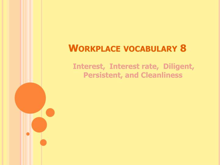workplace vocabulary 8 n.