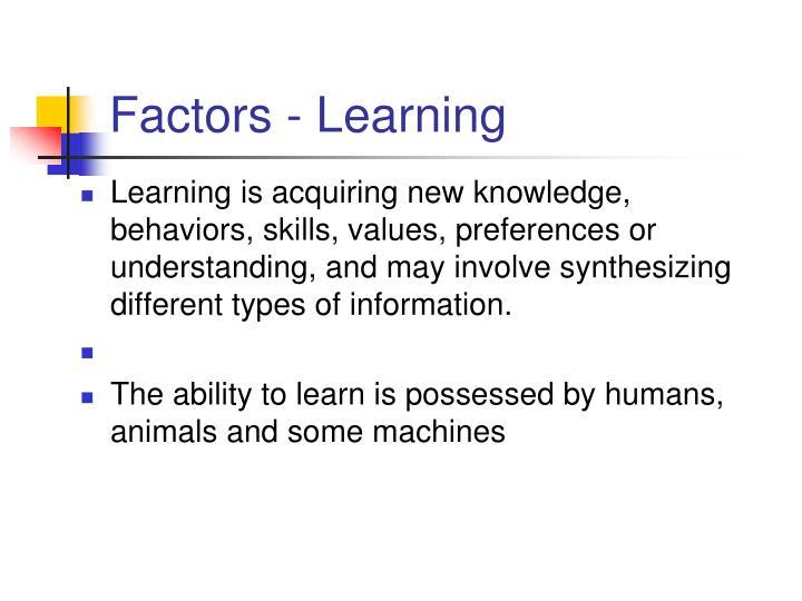 Factors - Learning