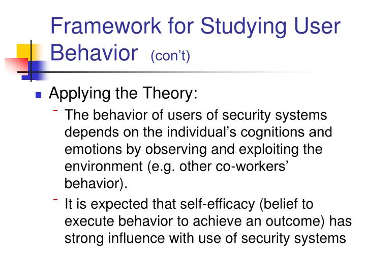 Framework for Studying User Behavior