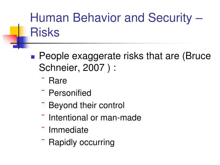 Human Behavior and Security –