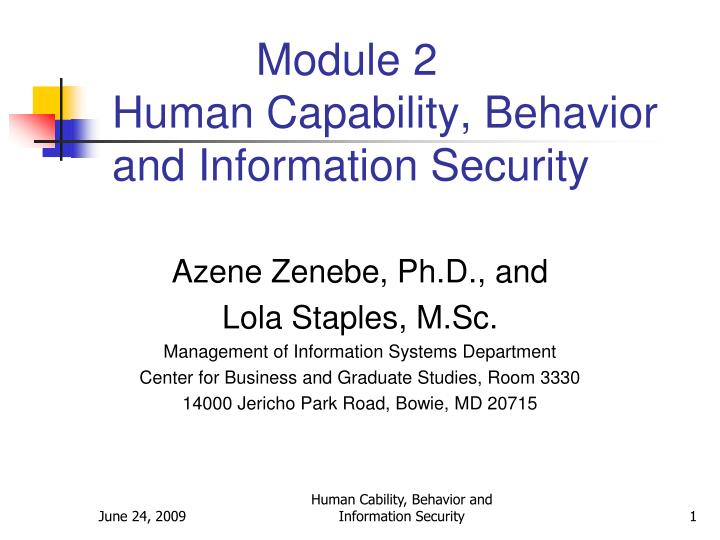 Module 2 human capability behavior and information security