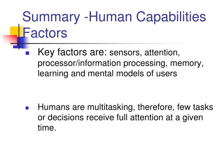 Summary -Human Capabilities Factors
