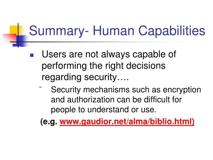 Summary- Human Capabilities