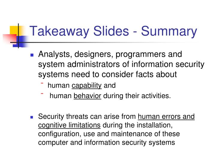 Takeaway Slides - Summary