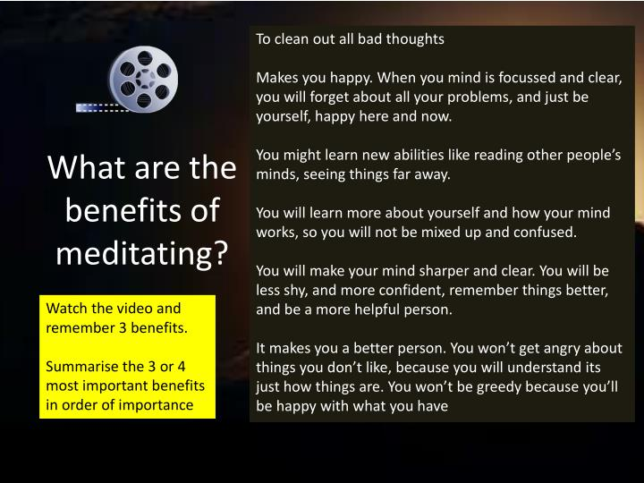 What are the benefits of meditating