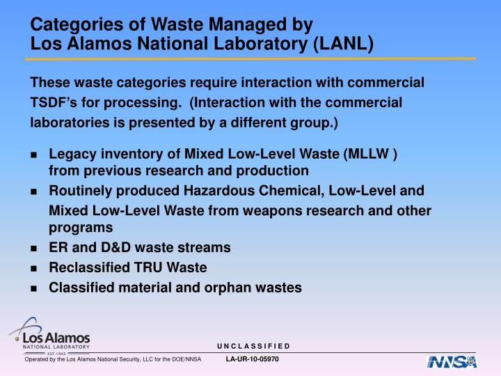 These waste categories require interaction with commercial