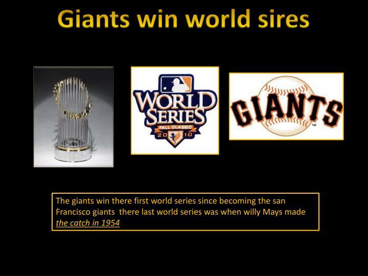 Giants win world sires